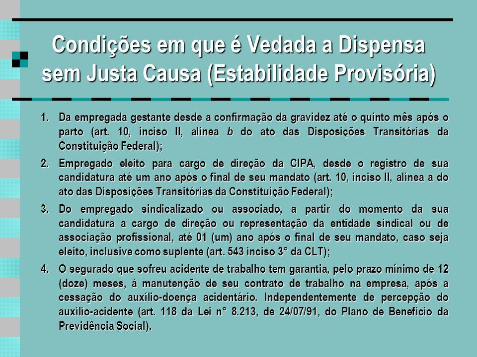 Condições em que é Vedada a Dispensa sem Justa Causa (Estabilidade Provisória)