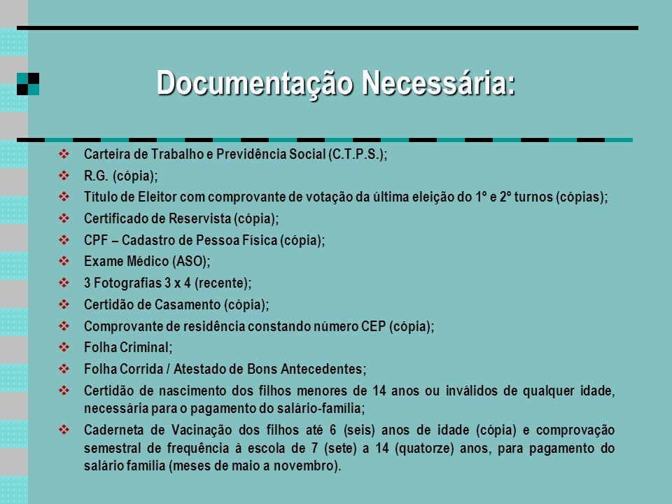 Documentação Necessária: