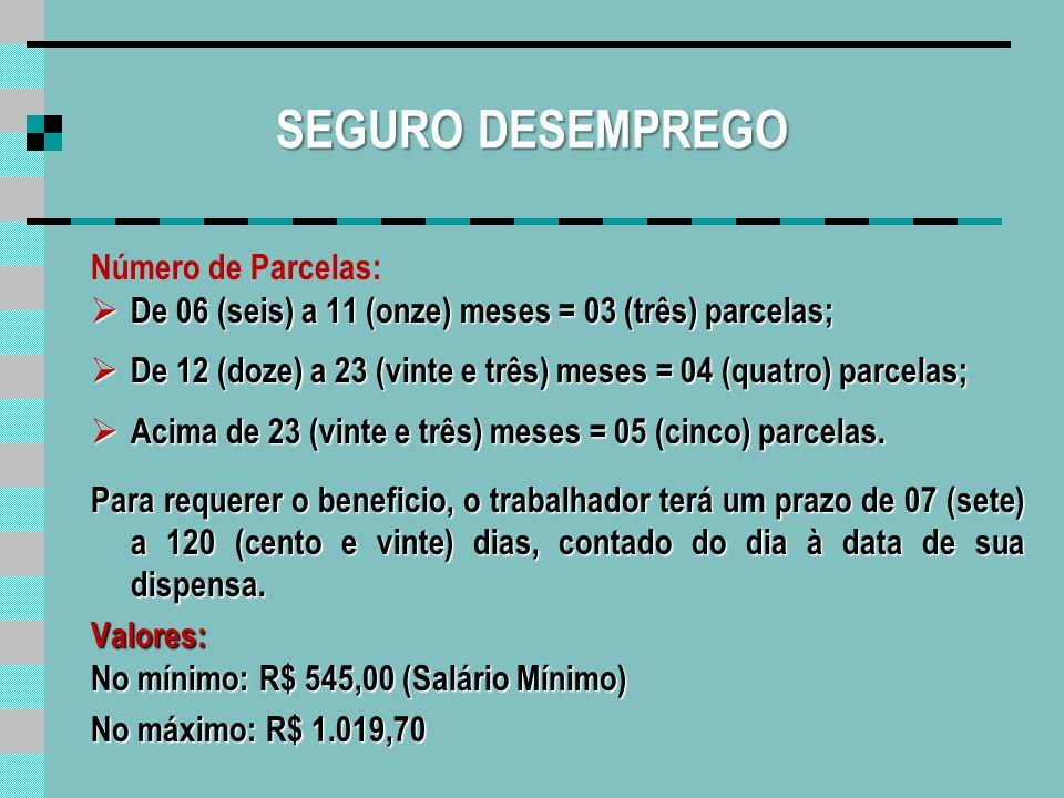 SEGURO DESEMPREGO Número de Parcelas: