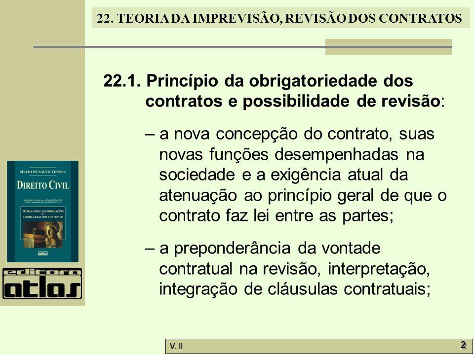 22.1. Princípio da obrigatoriedade dos contratos e possibilidade de revisão: