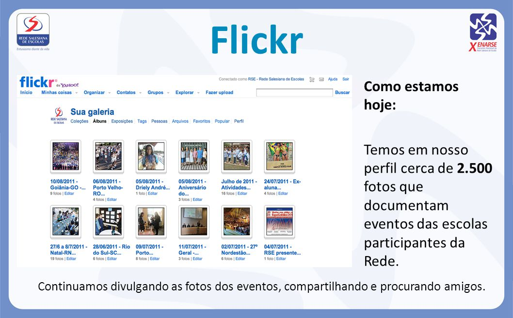 Flickr Como estamos hoje: Temos em nosso perfil cerca de 2.500 fotos que documentam eventos das escolas participantes da Rede.