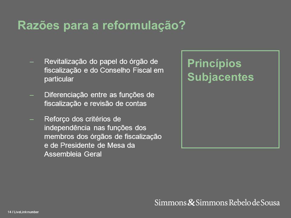 Razões para a reformulação