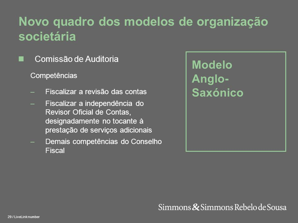 Novo quadro dos modelos de organização societária
