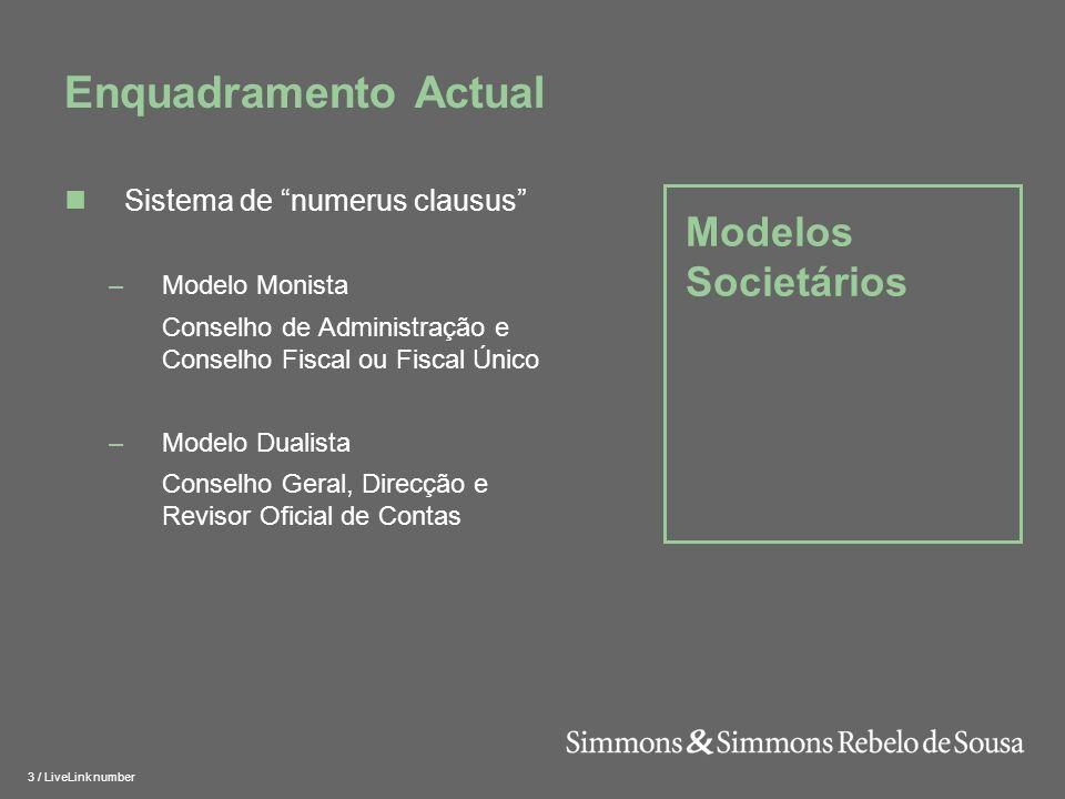 Enquadramento Actual Modelos Societários Sistema de numerus clausus