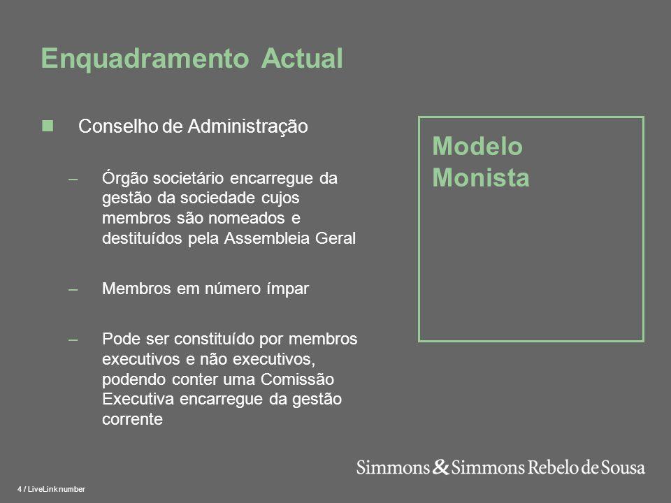 Enquadramento Actual Modelo Monista Conselho de Administração