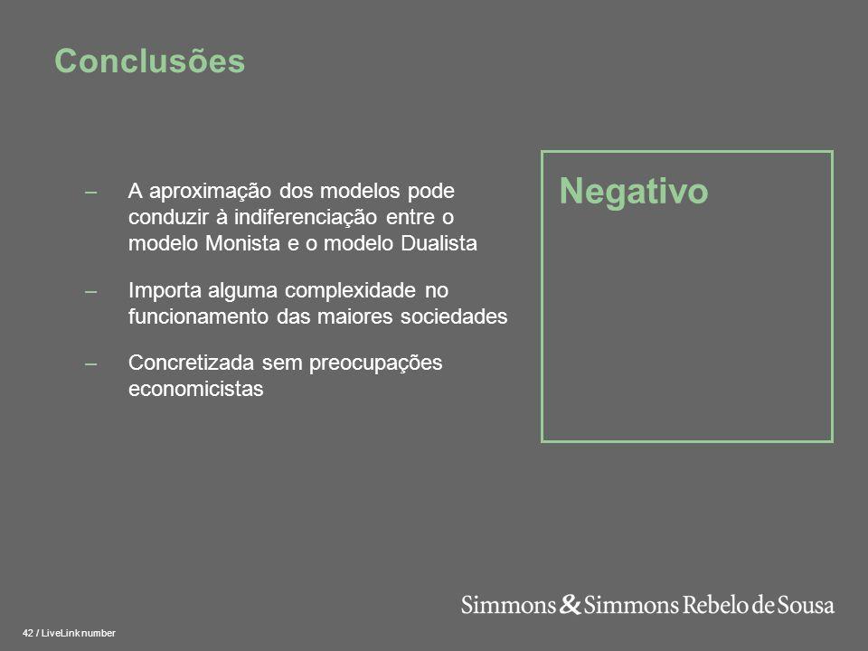 Conclusões Negativo. A aproximação dos modelos pode conduzir à indiferenciação entre o modelo Monista e o modelo Dualista.