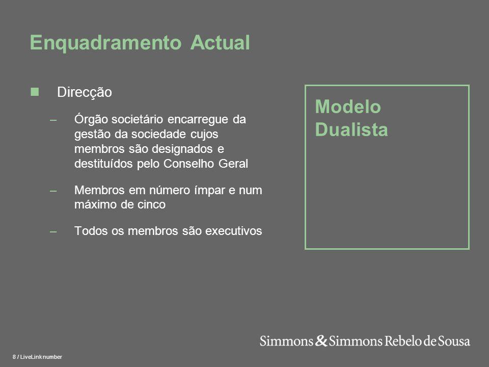 Enquadramento Actual Modelo Dualista Direcção