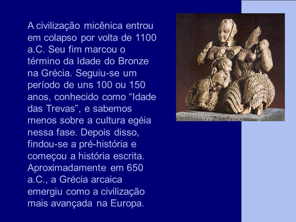A civilização micênica entrou em colapso por volta de 1100 a. C