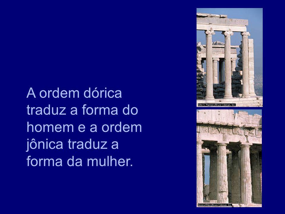 A ordem dórica traduz a forma do homem e a ordem jônica traduz a forma da mulher.
