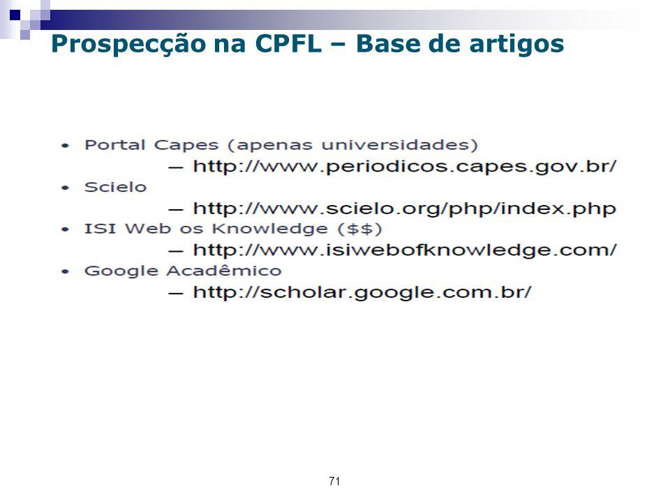Prospecção na CPFL – Base de artigos
