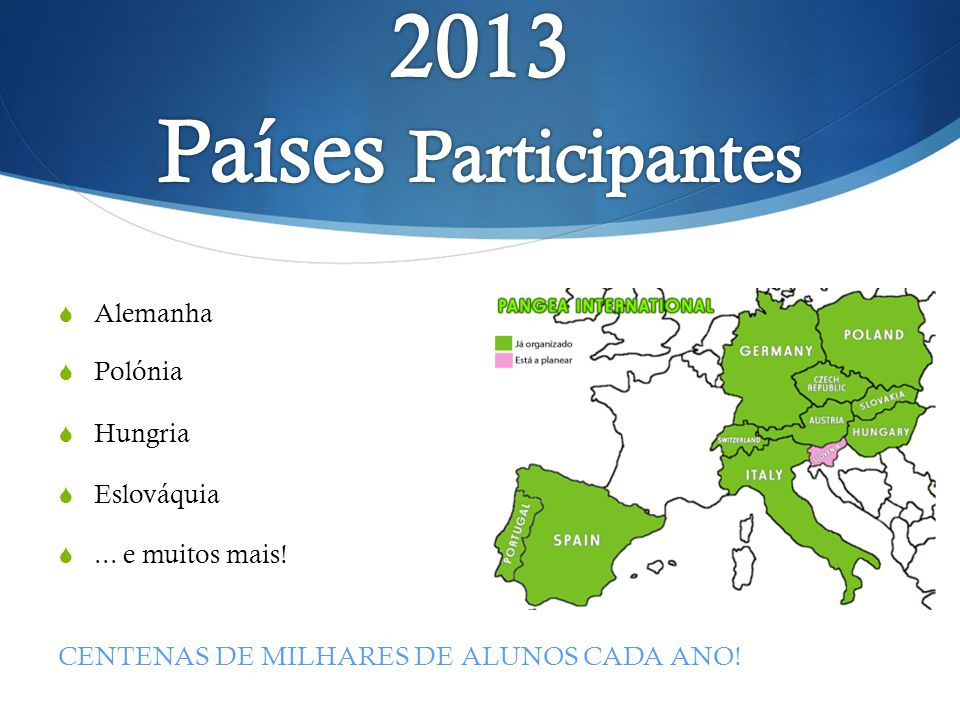 2013 Países Participantes Alemanha Polónia Hungria Eslováquia