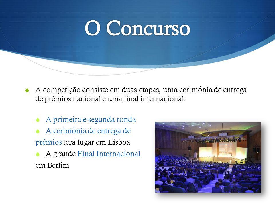 O Concurso A competição consiste em duas etapas, uma cerimónia de entrega de prémios nacional e uma final internacional: