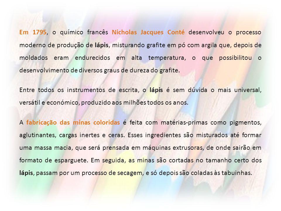 Em 1795, o químico francês Nicholas Jacques Conté desenvolveu o processo moderno de produção de lápis, misturando grafite em pó com argila que, depois de moldados eram endurecidos em alta temperatura, o que possibilitou o desenvolvimento de diversos graus de dureza do grafite.