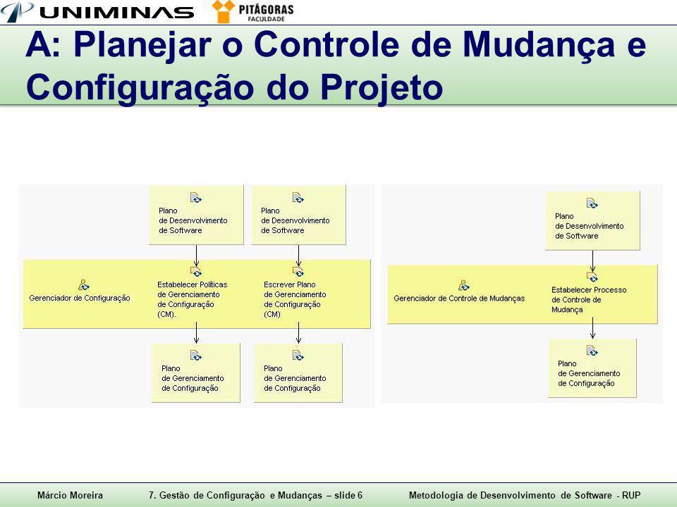 A: Planejar o Controle de Mudança e Configuração do Projeto