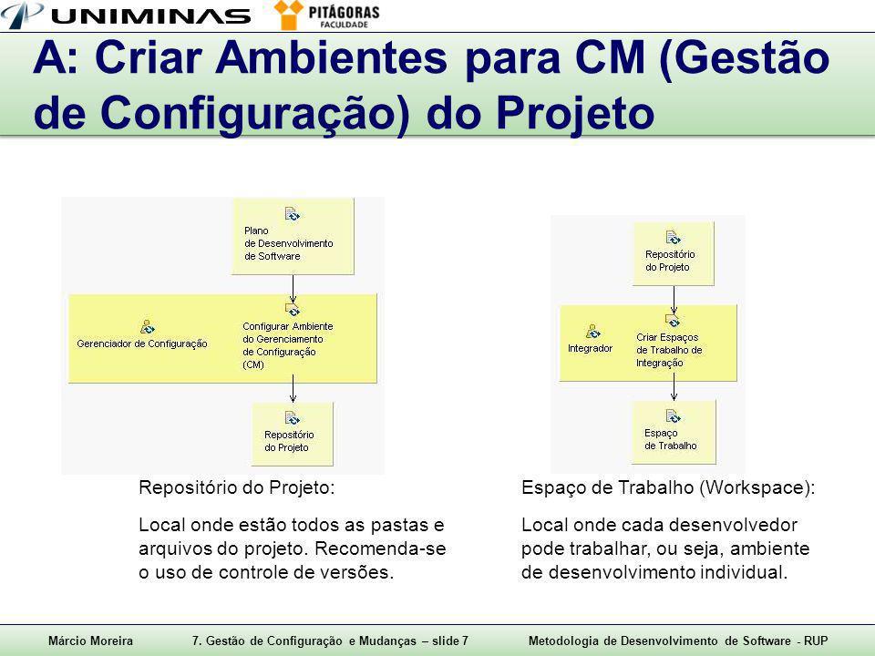 A: Criar Ambientes para CM (Gestão de Configuração) do Projeto