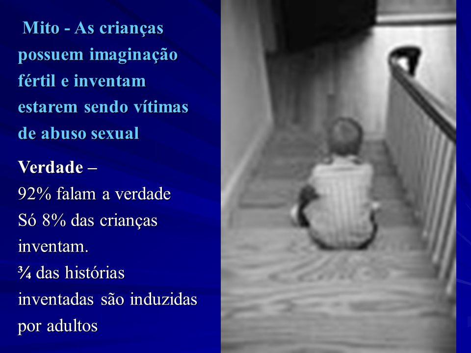 Mito - As crianças possuem imaginação. fértil e inventam. estarem sendo vítimas. de abuso sexual.