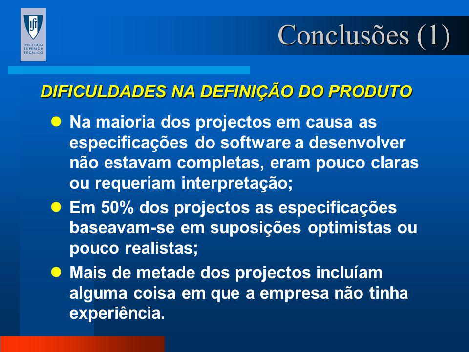 Conclusões (1) DIFICULDADES NA DEFINIÇÃO DO PRODUTO