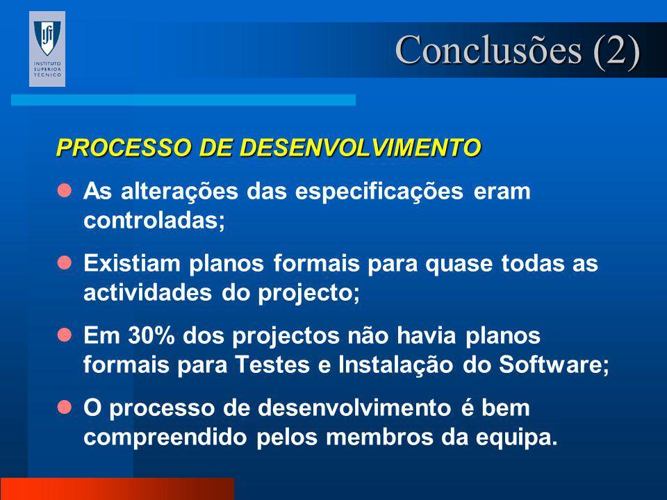 Conclusões (2) PROCESSO DE DESENVOLVIMENTO