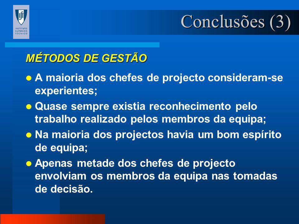 Conclusões (3) MÉTODOS DE GESTÃO
