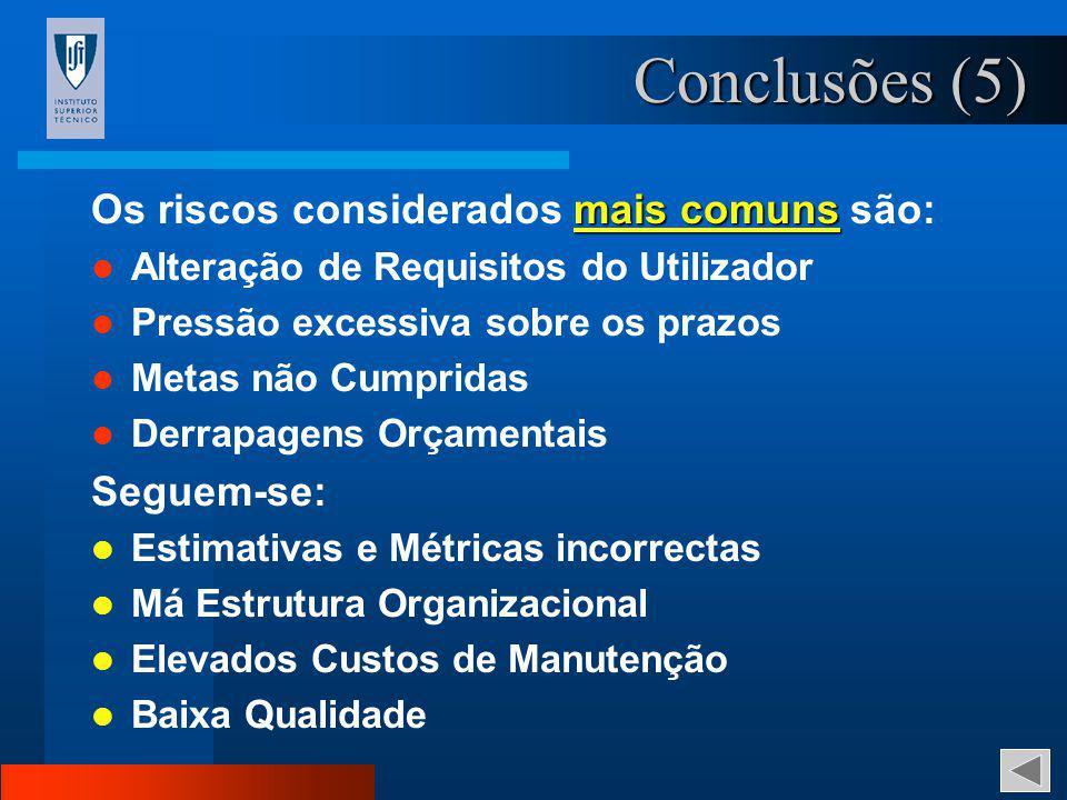 Conclusões (5) Os riscos considerados mais comuns são: Seguem-se: