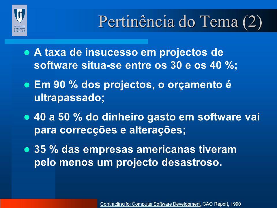 Pertinência do Tema (2) A taxa de insucesso em projectos de software situa-se entre os 30 e os 40 %;