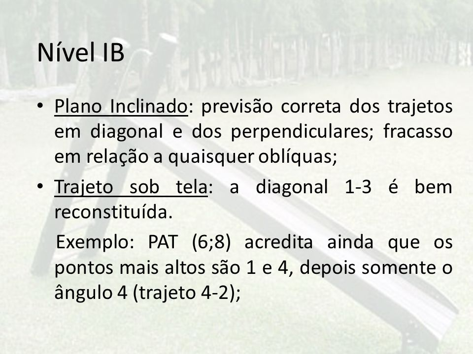 Nível IB Plano Inclinado: previsão correta dos trajetos em diagonal e dos perpendiculares; fracasso em relação a quaisquer oblíquas;