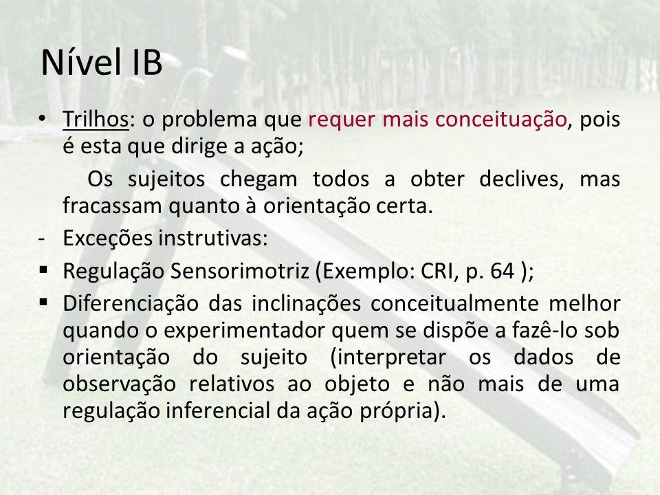Nível IB Trilhos: o problema que requer mais conceituação, pois é esta que dirige a ação;