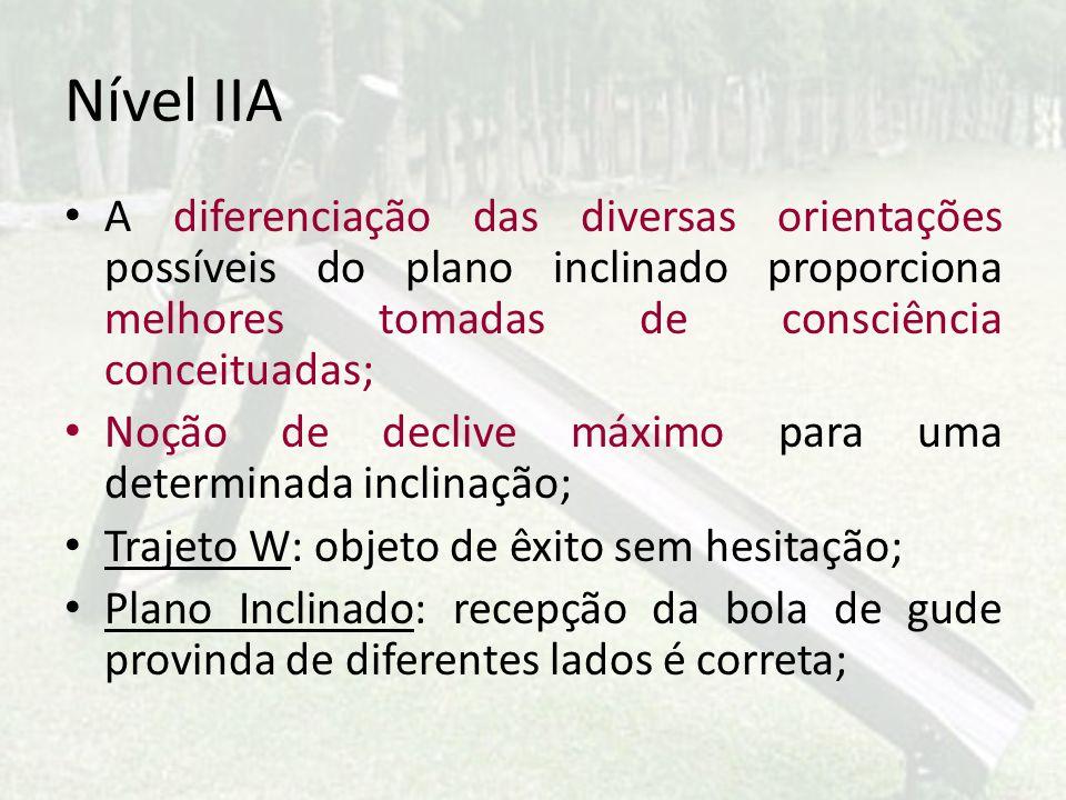 Nível IIA A diferenciação das diversas orientações possíveis do plano inclinado proporciona melhores tomadas de consciência conceituadas;