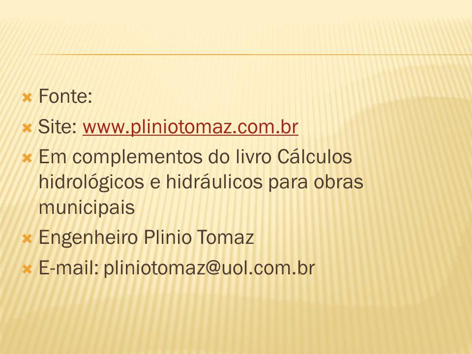 Fonte: Site: www.pliniotomaz.com.br. Em complementos do livro Cálculos hidrológicos e hidráulicos para obras municipais.