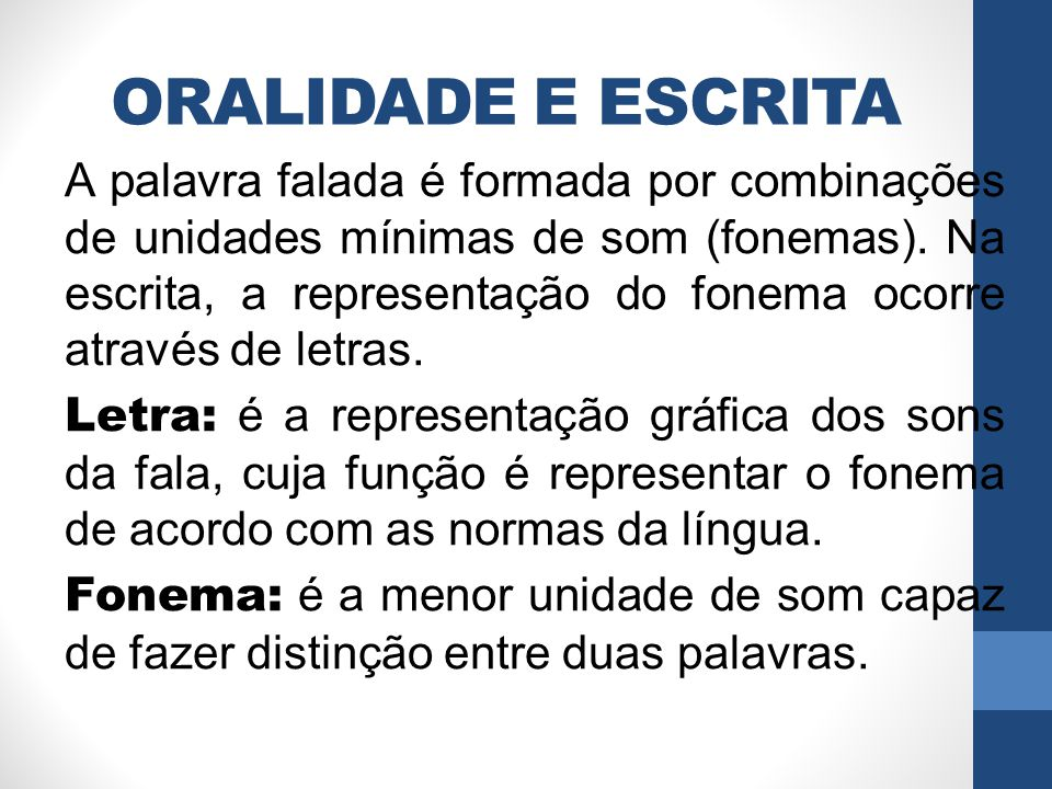 ORALIDADE E ESCRITA