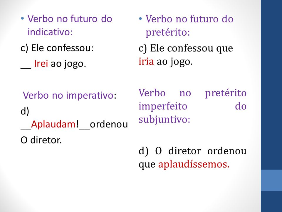 Verbo no futuro do indicativo: