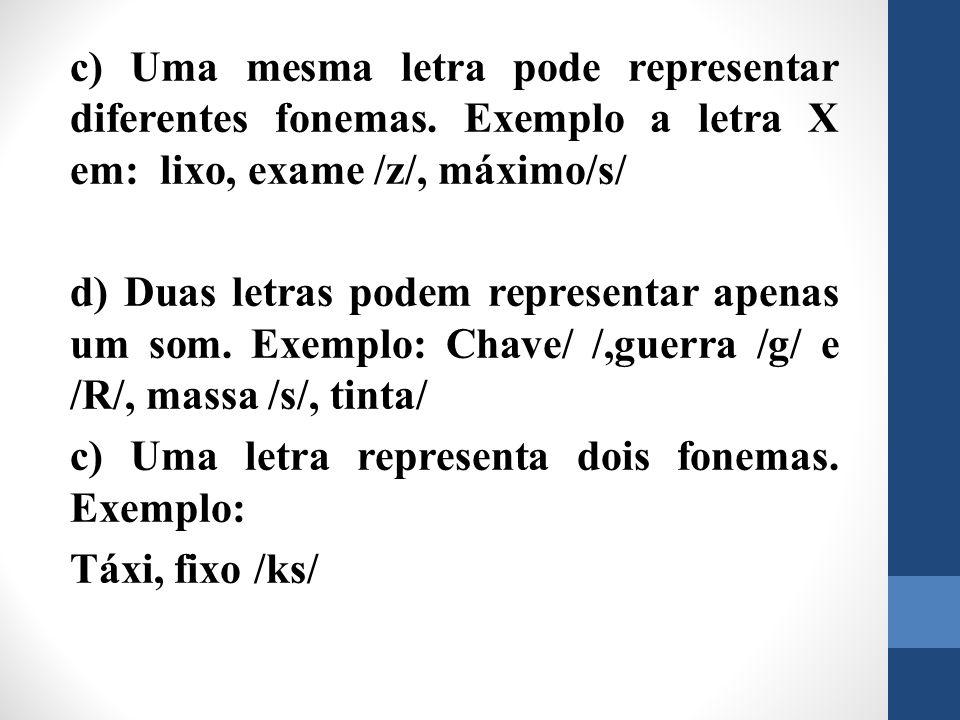 c) Uma mesma letra pode representar diferentes fonemas