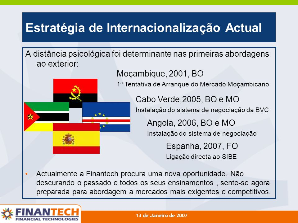 Estratégia de Internacionalização Actual