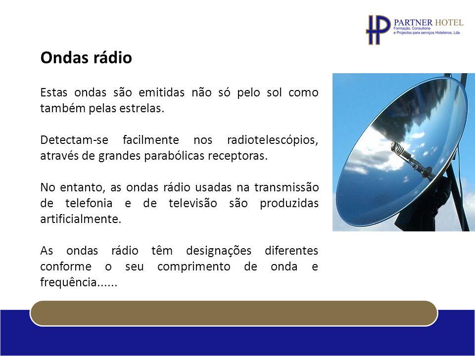 Ondas rádio Estas ondas são emitidas não só pelo sol como também pelas estrelas.