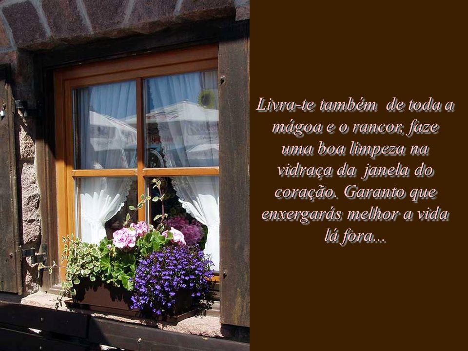 Livra-te também de toda a mágoa e o rancor, faze uma boa limpeza na vidraça da janela do coração.