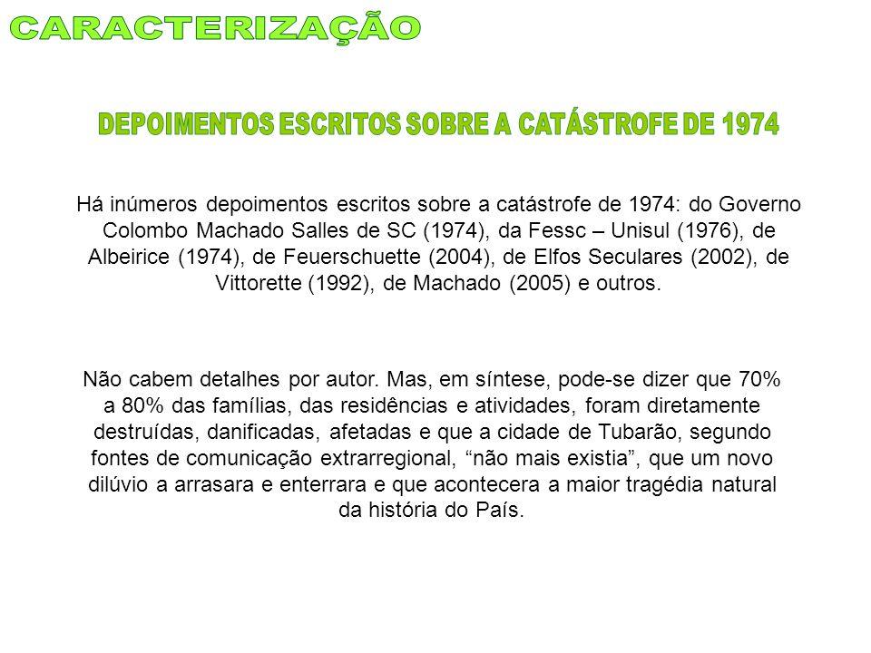 DEPOIMENTOS ESCRITOS SOBRE A CATÁSTROFE DE 1974