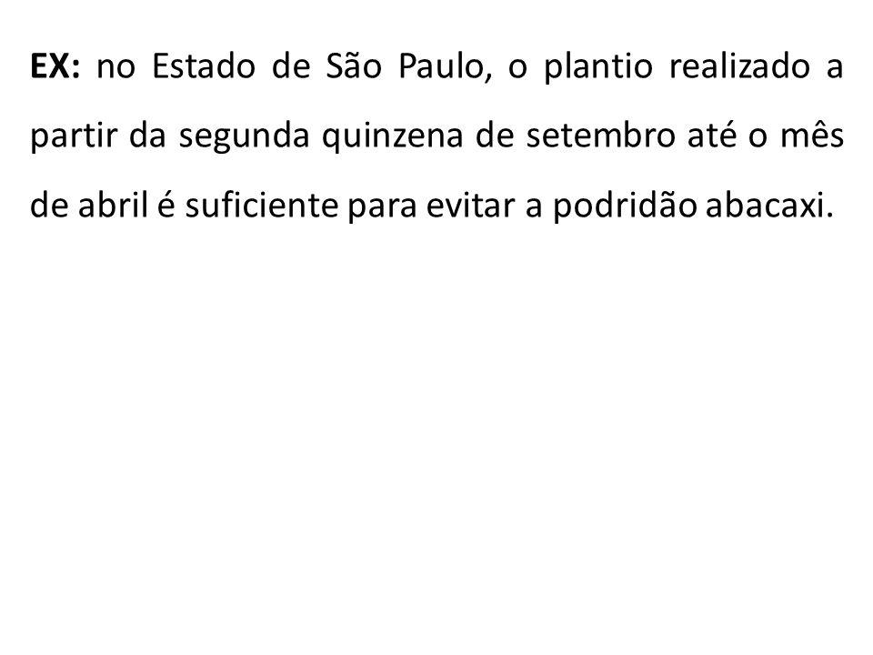 EX: no Estado de São Paulo, o plantio realizado a partir da segunda quinzena de setembro até o mês de abril é suficiente para evitar a podridão abacaxi.