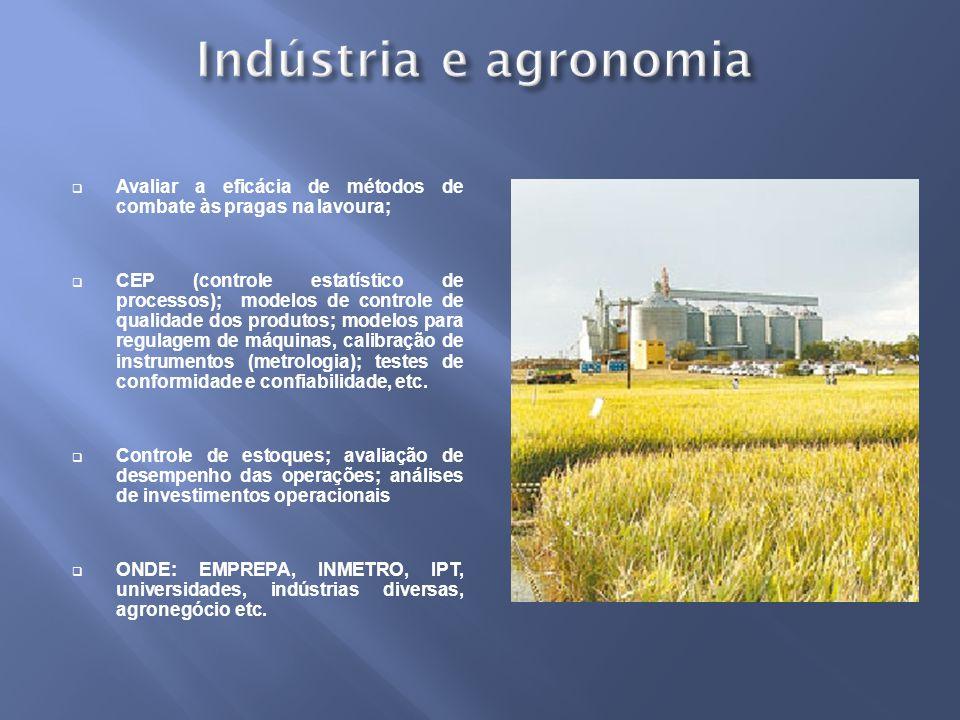Indústria e agronomia Avaliar a eficácia de métodos de combate às pragas na lavoura;