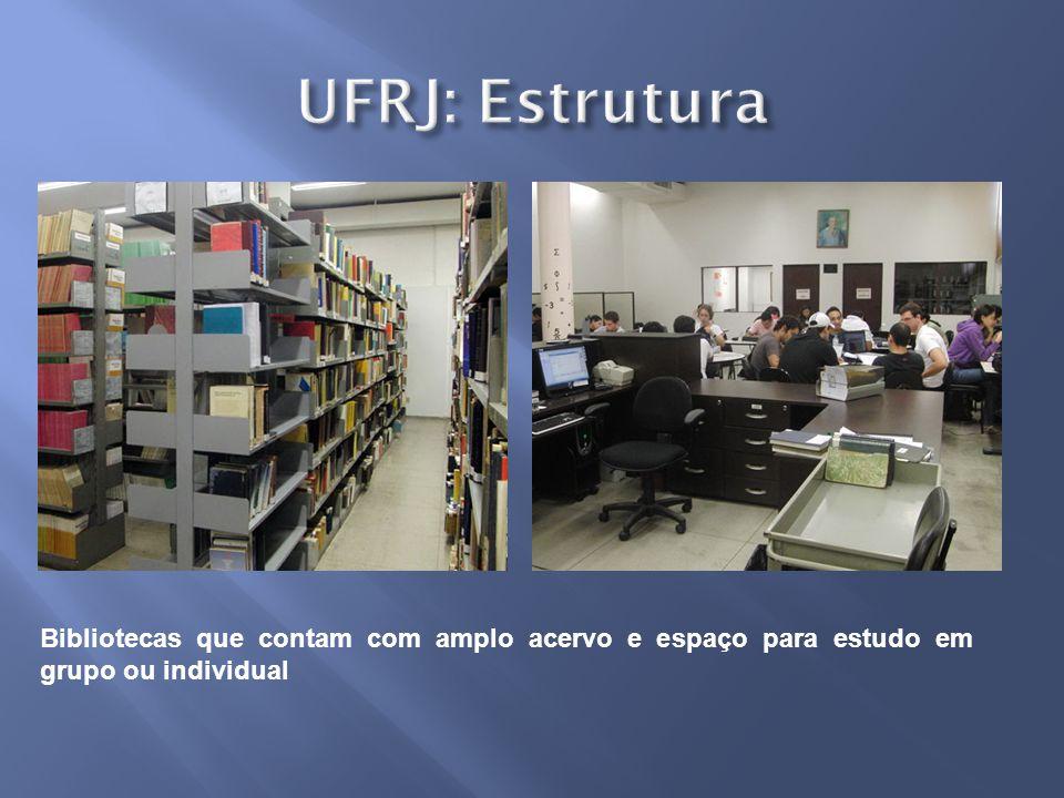 UFRJ: Estrutura Bibliotecas que contam com amplo acervo e espaço para estudo em grupo ou individual