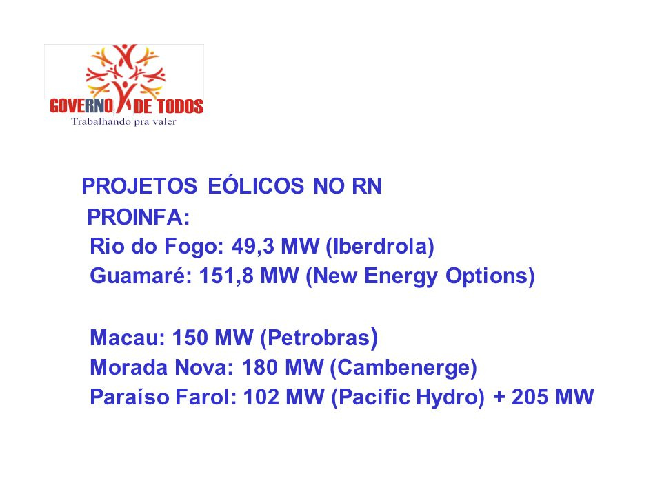 PROJETOS EÓLICOS NO RN PROINFA: Rio do Fogo: 49,3 MW (Iberdrola)