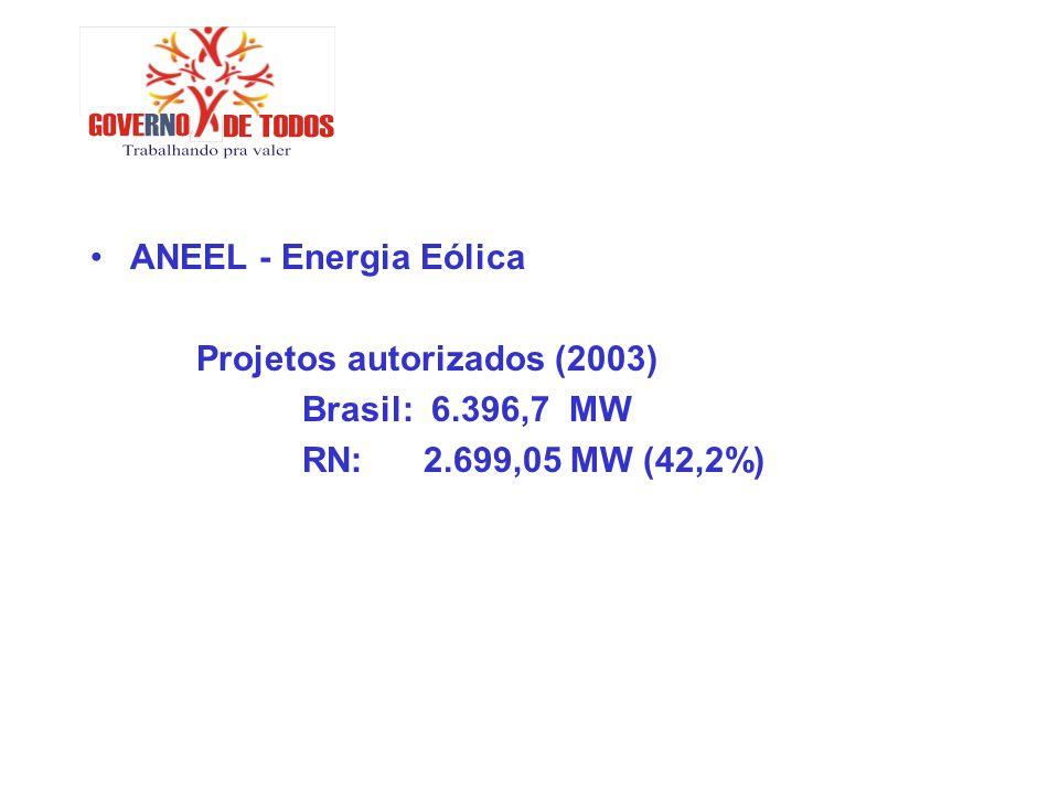 ANEEL - Energia Eólica Projetos autorizados (2003) Brasil: 6.396,7 MW.