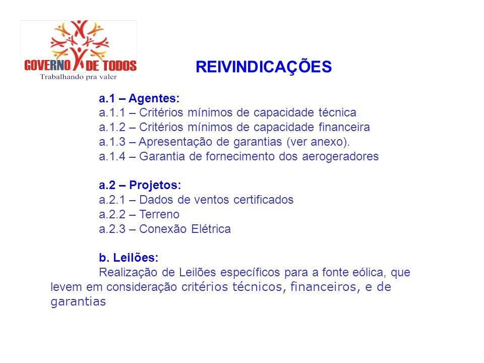 REIVINDICAÇÕES a.1 – Agentes: a.1.1 – Critérios mínimos de capacidade técnica. a.1.2 – Critérios mínimos de capacidade financeira.