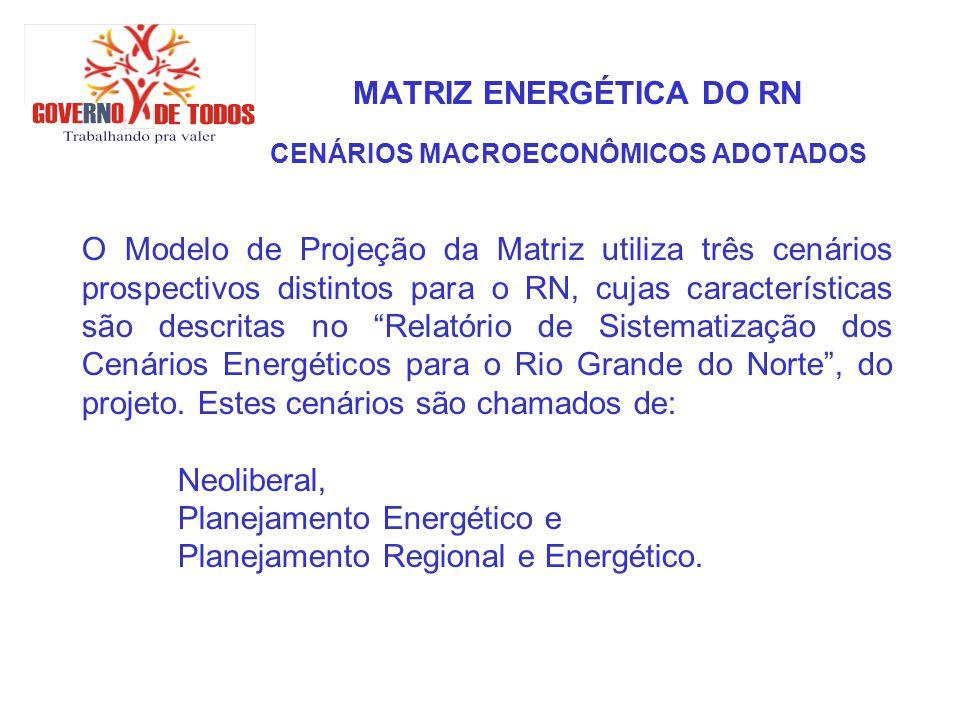 MATRIZ ENERGÉTICA DO RN CENÁRIOS MACROECONÔMICOS ADOTADOS