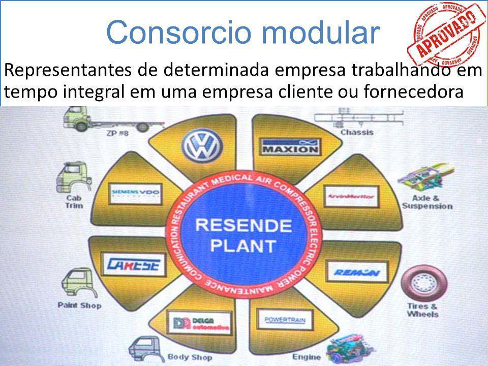 Consorcio modular Representantes de determinada empresa trabalhando em tempo integral em uma empresa cliente ou fornecedora.