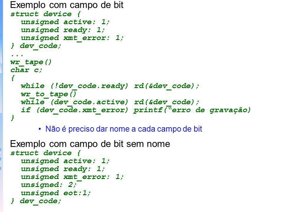 Exemplo com campo de bit