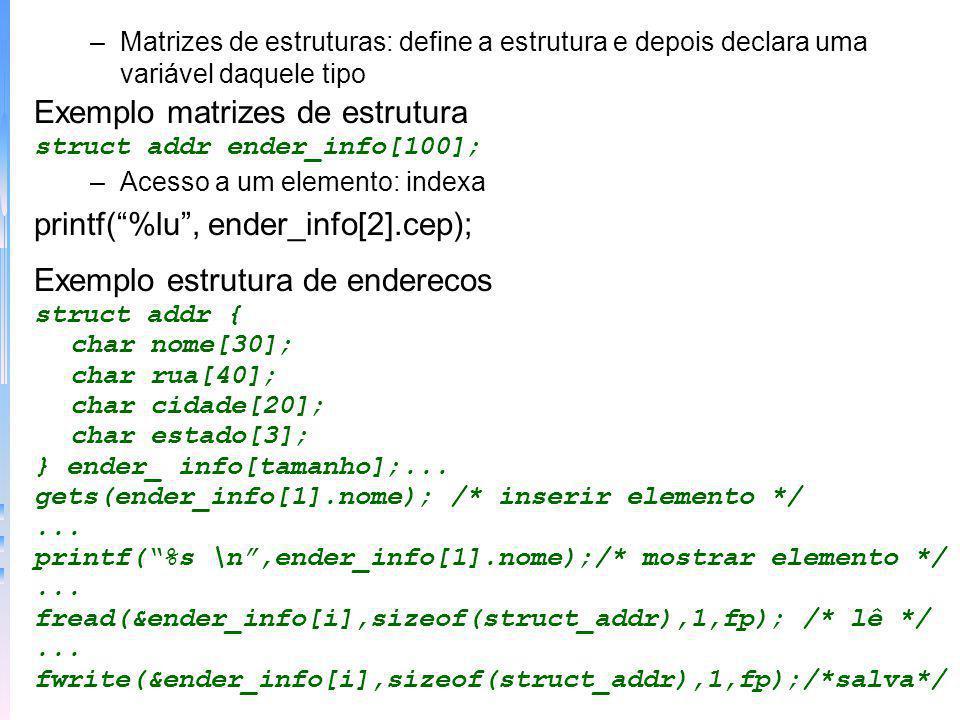 Exemplo matrizes de estrutura