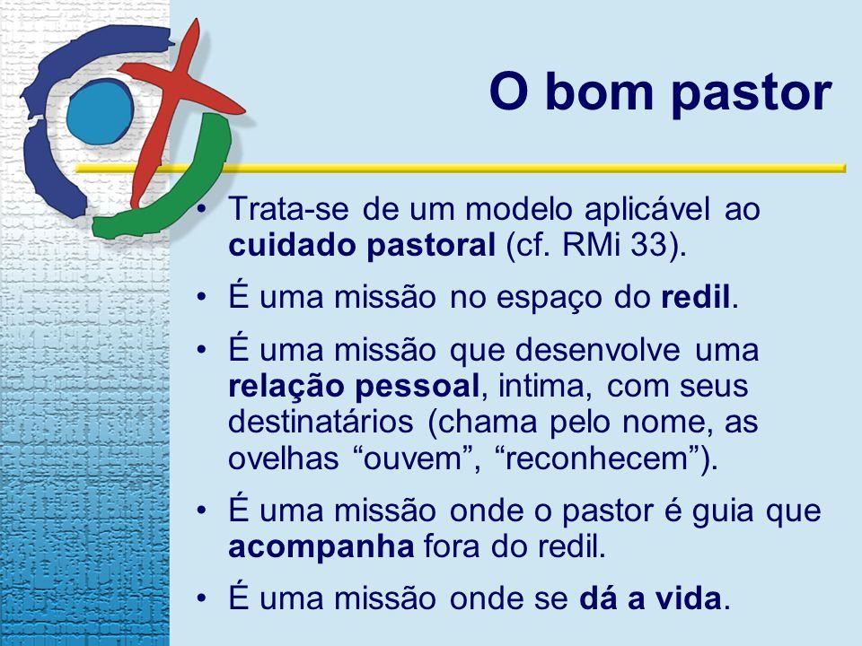 O bom pastor Trata-se de um modelo aplicável ao cuidado pastoral (cf. RMi 33). É uma missão no espaço do redil.