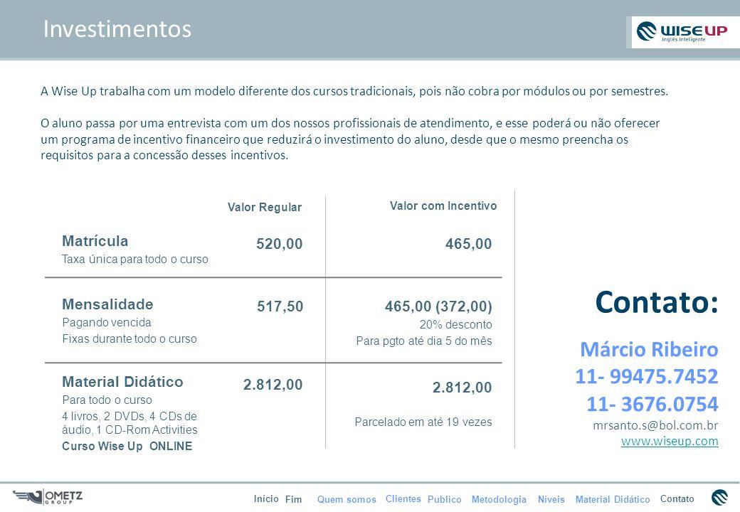 Contato: Investimentos Márcio Ribeiro 11- 99475.7452 11- 3676.0754