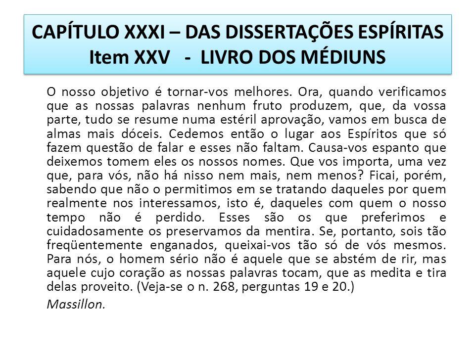 CAPÍTULO XXXI – DAS DISSERTAÇÕES ESPÍRITAS Item XXV - LIVRO DOS MÉDIUNS