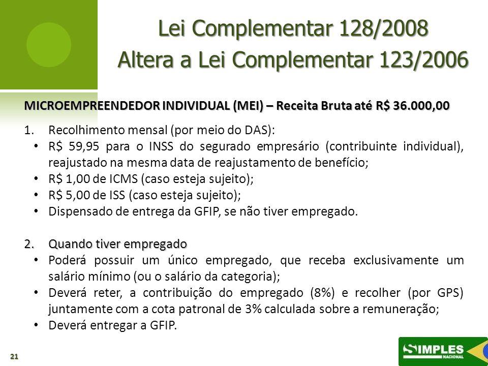 Altera a Lei Complementar 123/2006
